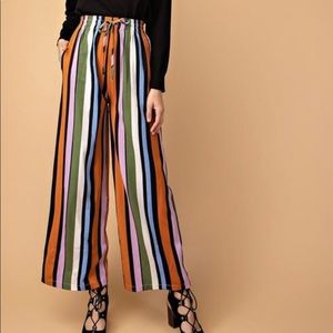 Multi color block striped wide leg pants